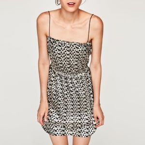 Zara Shimmery Spaghetti Strap Mini Dress